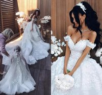 Princess Arabic Lace Wedding Dresses Off Shoulder 3D- Floral ...