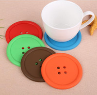 Cute Colorful Silicone Button Cup Cushion Holder Drink Tableware Coaster Mat Pads Free Shipping