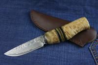 Damaskus-roter Schatten des Holzes nach dem kampierenden Jagdmesser des geraden Messer im Freien wildes Geschenk 1pcs freies Verschiffen
