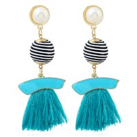 pearl ball Tassel earrings women Bohemia Colorful Double Rou...