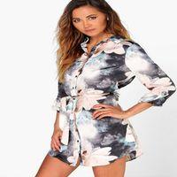 Toptan Satış - Toptan-2017 Plus Size Kadın Baskı Gömlek casual gevşek boy Bluz Camisas Blusas Femininas Bayanlar Uzun Kollu Sheer Tişört Tops