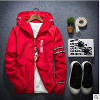 Thin Hooded Men Jacket Coat for Men New Casual Red Black Sli...