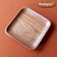 Конфеты закуски кофе тарелка еда блюдо ювелирные изделия дисплей квадратный натуральный черный грецкий орех нас деревянный лоток