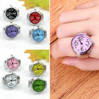 Promotion Ringar Anillos Smycken Ny för Kreativ Mode Stål Elastisk Quarts Finger Ring Titta på Lady Girls Gift