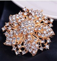 Rhinestone diamond Flowers Redbud Brooches Pins Corsage Scarf Clips Women Men Silver Gold Business Suit dress top pin Fashion jewelry will and sandy