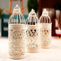 White BirdCage Candle Holders, Dekoracje ślubne, Darmowa Wysyłka, Świecznik Żelazny, Latarnia