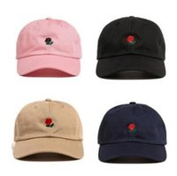 6 cores Fashion Rose Baseball Cap Snapback casual para esportes de marca Unisex Hip Hop Flat Sun Hat Rose Ball Caps CCA7046 50pcs