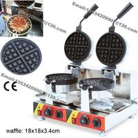 Envío gratis uso comercial antiadherente 110 v 220 v eléctrico doble rotación estándar belga fabricante de galletas fabricante de hierro panadero molde de la placa