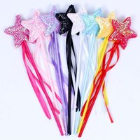 Sweet Girls Princess Ribbon Paillettes Star Fairy Magic Wand Sticks Dance Performance Puntelli Birthday Wedding Party Favors