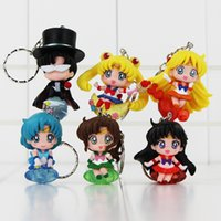 Sailor Moon Tsukino Usagi Tuxedo Mask Sailor Venus Mercury Mars Jupiter Keychain PVC Figure Giocattoli 6 pezzi / set