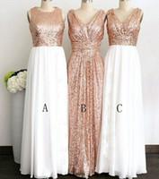 Gül Altın Payetli Üç Farklı Stil Uzun Gelinlik Modelleri Düğün Için Zarif Önlük Törenlerinde Kadınlar Örgün Parti Elbiseleri