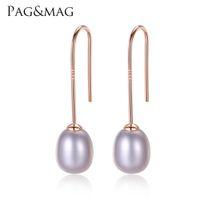 Pagmag simples gancho de ouvido 925 Brincos de prata esterlina 8-9mm arroz natural pérola brincos para mulheres clássico pérola jóias