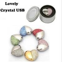 Crystal Asymmetric Heart Shaped Jewelry USB Flash Drive with...