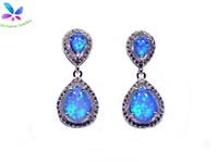 Großhandel Einzelhandel Mode Blau / Weiß Fein Feueropal Ohrringe 925 Silber Überzogene Schmucksachen EMT16041701