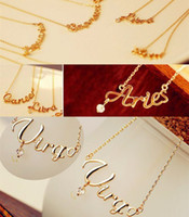 Fashion Jewelry 12 constellation Letter Pendants Necklace Cl...