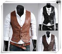Atacado-2016 New Fashion Man Cool Suit Colete Blazers Colete Preto Dos Homens Marrom Pu Colete De Couro Ocidental Motocicleta Terno Colete FreeShipping