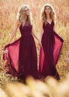 Dark Red V Neck Lace Long Chiffon Bridesmaid Dresses 2016 Pl...