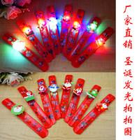 Рождество светодиодные ленты свет брызгали хлопать круг ПУ Санта-Клаус свечение браслеты светоизлучающие игрушки Оптовая