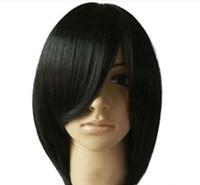 100 ٪ العلامة التجارية الجديدة عالية الجودة موضة الصورة wigswomen أزياء قصيرة مستقيمة سوداء الشعر الباروكات الكامل تأثيري حزب الباروكة الاصطناعية