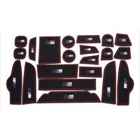 높은 품질 21pcs 인테리어 비 - 슬립 도어 컵 홀더 BMW X 4 2013-16에 대 한 블랙 러버 매트 레드 라인