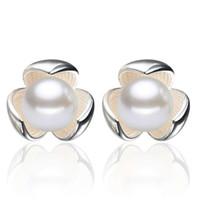 925 gümüş öğeler yonca beyaz İnci saplama küpe düğün takı vintage charms yeni geliş ücretsiz kargo