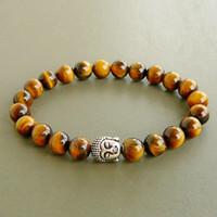 Buddha Wrap Armband, Meditation Armband, Yoga Armband, Tiger Eye Armband, Herren Tiger Eye Armband, Herren Buddha Armband, Mens Budda
