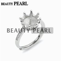 5 Pieces Crown Ring Pearl Semi Mount Findings 925 Sterling S...