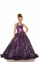 2015 Sexy Gold Purple Sequins Бисером Девушки Pageant Платья Холтер Бальное Платье Блестящие Блестки Дешевые Девушки Цветка Платья Glitz Горячей Продажи