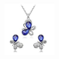 Kids Jewelry Set 18K White Gold Plated Stone Crystal Paved B...