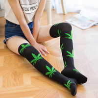 Multicolor Maple Leaf Knee- high socks Girls fashion jacquard...