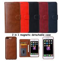 Pour iPhone X 7 8 Plus Étui portefeuille de luxe 2in1 multi-fonctionnel en cuir PU cas de téléphone avec magnétique amovible amovible doux TPU BookCover