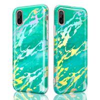 Caso de mármol TPU Shell deslumbrante que contiene la contraportada láser teléfono del cromo protectora para el iPhone Xs Max Xr X 6 7 8 6S Plus
