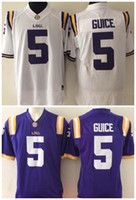 Men LSU Tigers Jersey 5 Derrius Guice Purple White College F...