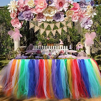 Big Kids Multicolor Cloth Tulle Table Skirts For Rectangle U0026 Round Tables  Baby Shower Decoration Table Cover Cloth For Birthday Wedding Christmas  Parties ...