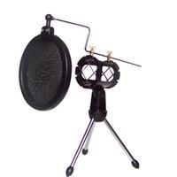 Mikrofonlar Tripod Standı Ayarlanabilir Stüdyo Kondenser Mikrofon Montaj Tutucu Masaüstü Tripodlar için Cam Filtre Kapağı ile MIC