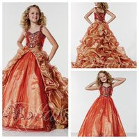 Kinder Formal Pageant Kleider 2017 wulstige Kristall mit abnehmbarem Zug drapierte Sweep Zug Formal Mädchen Formal Mädchen Abschlussball-Partei-Kleid