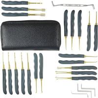 Goso 24 pièces Lock Pick Tools Set Lock Cueillette Outils Déverrouillage Lockpicks Outils Verrouillage de voiture Verrouillage Verrouillage Outils avec étui en cuir