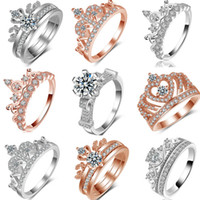 2017 High Quality Rose Gold Crown CZ Rings, Fashion Rendezvo...