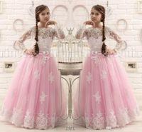 Reizende rosa und weiße spitze kinder baby mädchen pageant für jugendliche lange ärmel tüll bodenlangen prinzessin blume mädchen kleider
