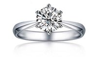 silver wedding rings jewelry Classic Engagement Ring 6 Claws...