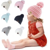Kids CC Knitted Beanie Hat With Ball For Winter FashionBrand...