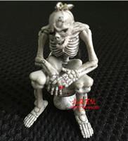 11.5 * 5.6 * 2.5cm 귀여운 크리 에이 티브 품질 고무 화장실 해골 펜던트 화장실 해골 열쇠 고리 열쇠 고리 휴대 전화 체인 도매