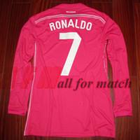 UCL 14/15 RM Jogador desgastado Problema de camisa Jersey Manga comprida Ronaldo Bale Sergio Ramos Futebol Futebol Patches Patrocinador