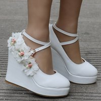 White Women Wedding Party Pumps Wedge Heels Buckle Straps La...