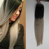 """10 """"-26"""" 100g 7a Argent Gris Bande Extension Ombre Gris Extensions de Cheveux Micro Anneau Extensions de Cheveux Humains Remy Brésilien Vierge Cheveux Raides"""