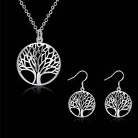 Venta al por mayor de plata 925 plateó el árbol de la vida colgante collar Fit 18 pulgadas O cadena o pendientes anillo de la pulsera para mujeres niña Jewery Set