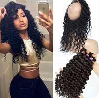 360 Lace Frontal With Bundle Deep Wave Curly Brazilian Virgi...