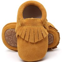 New 100% Genuine leather Suede Baby Moccasins With Fur hard ...