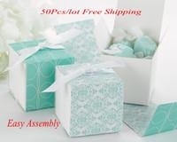 (50 pçs / lote) caixa de presente de casamento perfeito de caixas de embrulho reversível aqua damasco para caixa de casamento e festa caixa de favor e caixa de doces