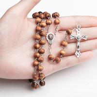 Contas De Madeira Rosário Jesus Cruz Colar Virgem Maria Pingente de Cadeia Longa para As Mulheres Homens Oração Católica Jóias Presente de Natal